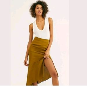 Free People NWT Size 8 Lola Midi Skirt Split Moss